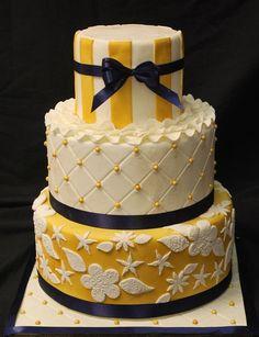 Gold and Navy  Wedding Cakes - SweetTpieS Dessert Studio