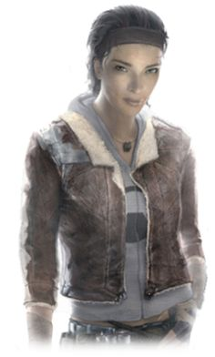 Alyx Vance - Half Life 2;  non-player character in Valve's 2004 first-person shooter, Half-Life 2. Alyx is portrayed as a young woman in her mid-twenties of Afro-Asian descent, & is a prominent figure in the human resistance against the rule of the alien race called the Combine and their human representative, Dr. Breen.
