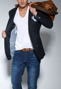Casual weekender- Plain V neck, blue jeans, and a neutral or colored blazer! Always a classic look, and very easy.