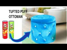 Never waste Pringles cans after watching it.Real furniture ottoman from Pringles cans 1 Pink ottoman 2 Red . Diy Living Room Paint, Diy Living Room Furniture, Diy Furniture, Pink Ottoman, Ottoman Decor, Cardboard Furniture, Diy Cardboard, Recycle Cans, Reuse