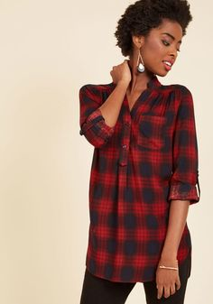 c3c46ad7475 At-Home Editor Plaid Tunic in L - Aline - Plus Sizes Available Plaid Outfits