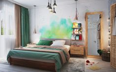 Разработка дизайн-проекта комнаты: этапы, тонкости воплощения и 70 трендовых дизайнерских вариантов http://happymodern.ru/razrabotka-dizajn-proekta/ Визуализация из проекта для 80-метровой квартиры. В центре внимания - акварельный арт на стене у изголовья кровати, а теплоту и уют спальне придают коричневый и зеленый цвета в текстиле Смотри больше http://happymodern.ru/razrabotka-dizajn-proekta/