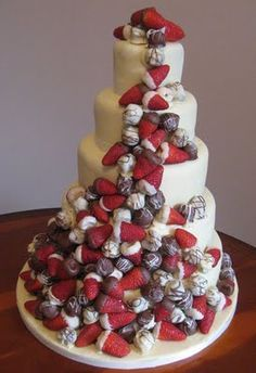 Mega Yum!    Chocolate covered strawberry wedding cake