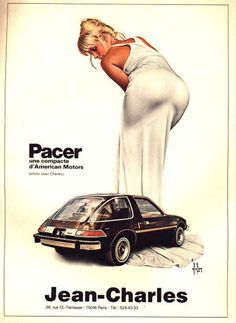 "retrogasm: "" AMC Pacer by Jean Charles This reminds me of something I heard on Bevis and Butthead once… ""Everyone calls her Crisco because she's fat in the can"" """