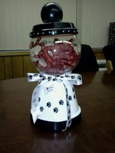 I made this gumball machine for my boss' new puppy and filled it with doggy treats.