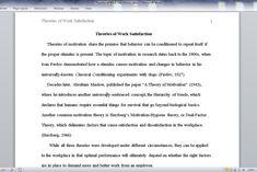 Theories of Work Satisfaction