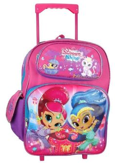 157402d1d6d7 Nickelodeon Shimmer and Shine Large Rolling Backpack Double zippered main  compartment. Two Front pockets with zipper closure. One side vecro-closure  pocket ...