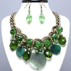 Luxe Beauty Supply - Burnished Gold Green Necklace and Earring Set  (http://www.lhboutique.com/burnished-gold-green-necklace-and-earring-set/) #FashionJewelry, #LuxeBeautySupply, #FashionAccessories
