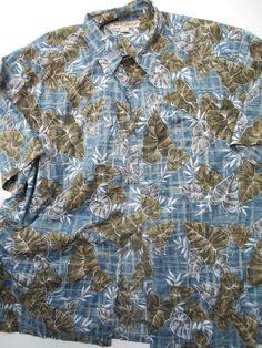 Tori Richards Hawaiian Shirt 2 XL  Blue Green tan Giant Leaves Mens Cotton Lawn  #ToriRichard #Hawaiian