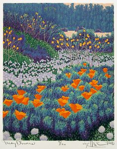 May Flowers by Gordon Louis Mortensen, reduction woodcut.this must have taken forever! Illustration Botanique, Art Et Illustration, Illustrations, May Flowers, Bouquet Flowers, Kunstjournal Inspiration, Painting Inspiration, Wow Art, Art Graphique