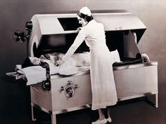 """Fever therapy to cure psychosis..Full-body fever machine  that was installed at the Fifth Avenue Hospital in New York City in the 1930s. According to a press release at the time, the machine """"heats the blood stream and body tissue, much as does nature, killing off the alien germ."""""""