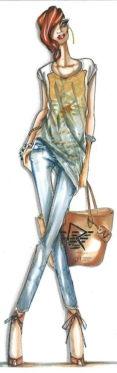 Rihanna has joined forces again with Emporio Armani for their second capsule collection - a range of jeans and lingerie items will hit stores later this month. Will you be buying a Rihanna collaboration? Illustration Mode, Fashion Illustration Sketches, Fashion Design Sketches, Fashion Drawings, Moda Fashion, Cute Fashion, Fashion Art, Street Fashion, Croquis Fashion