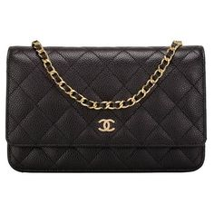 Preowned Chanel Black Quilted Caviar Classic Wallet On Chain (woc) (€3.145) ❤ liked on Polyvore featuring bags, wallets, black, chanel wallet, expanding wallet, leather credit card holder wallet, leather snap wallet and leather chain wallet