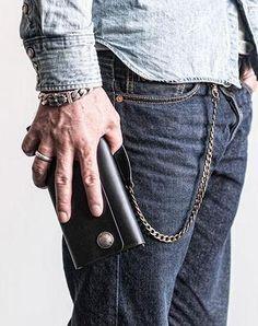 Handmade leather biker trucker wallet leather chain men Black long wallet