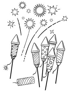 Printable fireworks coloring page. Free PDF download at http://coloringcafe.com/coloring-pages/fireworks/