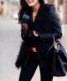 Black leather black fur