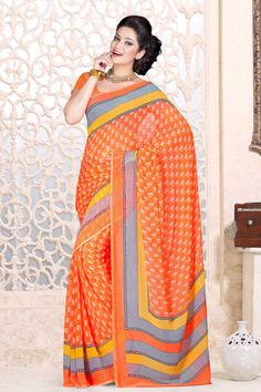 Indian Designer Orange Chiffon Sarees are now in store presents by Andaaz Fashion with price $38.54. Embellished with printed work and Orange Chiffon Short Sleeve Blouse. This is perfect for party wear, wedding, festival wear, casual, ceremonial. http://www.andaazfashion.us/orange-chiffon-saree-and-orange-chiffon-blouse-dmv7877.html