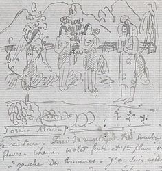 Gauguin's sketch of 'la Orana Mariana' in a letter written March 11, 1892.