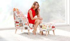 Miranda. Un sillón especial, ligero, cómodo, sensual… Su diseño con altas patas de madera nos traslada a los diseños escandinavos de los años 50. Cuando se combina con su pouff, el resultado es espectacular, pero sobre todo comodísimo.