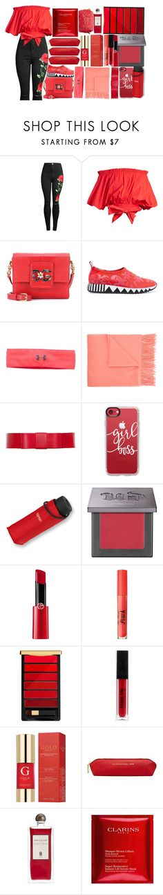 """100: [Current Status]"" by picking-daisies ❤ liked on Polyvore featuring Saloni, Dolce&Gabbana, Tory Burch, Under Armour, Estnation, Casetify, Urban Decay, Giorgio Armani, Too Faced Cosmetics and L'Oréal Paris"