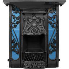 Victorian Fireplace Company, London UK - Cast Iron Art Nouveau Tiled Fireplace