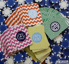 Monogrammed playing cards!! These are going on my birthday list right now!