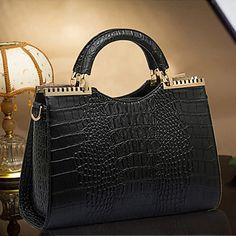 blkl borsa in pelle di moda modello coccodrillo brevetto borsa (nero) - EUR € 25.45