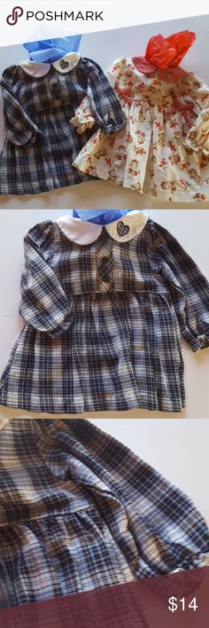 NWOT  Mayfair kid's dresses double the cuteness NWOT  Mayfair kids dresses double the cuteness one with bears and bows other is checks with a cute heart collar both lightly elastic around the arms machine washable Mayfair kid's Dresses Casual