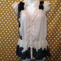 Fantastic Blouse Ivory with black lace design ,button up with cute collar! Perfect for work! Tops