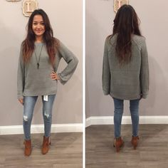 This warm and cozy sweater is perfect for those chilly, Fall days - $56 #fall #fallfashion #obsessed #aldm #apricotlanedesmoines #apricotlane #valleywestmall #boutique #shoplocal #musthave #apricotlaneboutique #shopaldm #ootd #sweaterweather