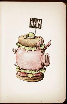 Quick Drawings by Maria Tiurina Cartoon Sketches, Cartoon Art, Sandwich Drawing, Doodle Art Drawing, Food Illustrations, Cute Drawings, All Art, Graphic Illustration, Food Art