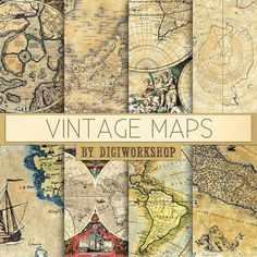 "Vintage maps digital paper - ""Vintage Maps"" with vintage and antique maps of europe, america and the world for scrapbooking, invites, cards"