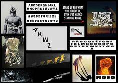 Moodboard 1: Het concept in dit moodboard draait om de betekenis van de quote. Eerst gebroken zijn, gevallen zijn en hierna terug opstaan, sterker dan ooit. Het concept draait hier om het gebroken zijn en het vallen wat typografisch kan worden weergegeven. Dit resulteert dan in het terug opstaan en deze keer groter en sterker dan ooit. Het gebroken vallen en opstaan kan letterlijk aan de hand van de typografie worden weergegeven.