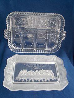 CHRISTMAS DECORATION TWO MIKASA CRYSTAL TRAYS . ART GLASS . SERVING TABLE IDEAS #Mikasa