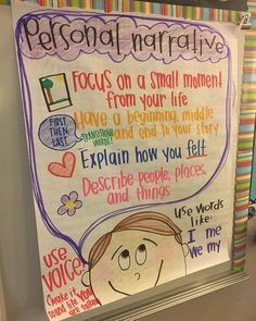 writing, we are currently working on personal narrative! It has been quite challenging for students to come up with enough details, but this anchor chart has been a life saver! Narrative Anchor Chart, Kindergarten Anchor Charts, Writing Anchor Charts, Kindergarten Writing, Kindergarten Behavior, Anchor Charts First Grade, Teaching Narrative Writing, Personal Narrative Writing, Writing Lessons