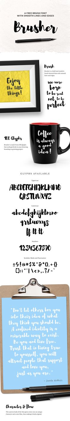 Brusher is a bold and modern brush-lettered font which includes 100 glyphs crafted with precise strokes and smooth lines that will give your text a naturally hand drawn look.