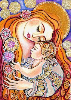 Amor de madres arte infantil madre hijo pintura de por EvitaWorks