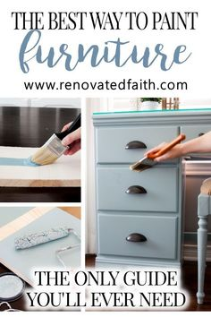 Easiest Guide for Painting Furniture – Get a professional finish on furniture.  This how-to tutorial includes a before and after makeover with tips for painting furniture indoors.  Included is the best list of supplies needed to paint wood furniture and DIY paint finishes for furniture.  Tips for different colors and how to refinish furniture without sanding off the old finish.  This is so much easier than chalk paint and the surface more durable.   #furnituremakeover #chalkpaint