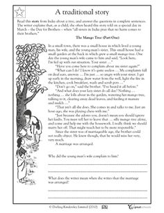 FREE language arts worksheet for third and fourth grades! In this language arts worksheet, your child will read three parts of a traditional story from India and answer questions about the characters' feelings using complete sentences. Skills: reading comprehension, interpreting and inferring, understanding and analyzing characters in a story, building vocabulary, writing practice