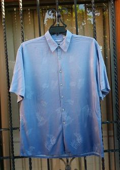 Men's blue ombre shirt with leaaves in Clothing, Shoes & Accessories, Men's Clothing, Casual Shirts   eBay