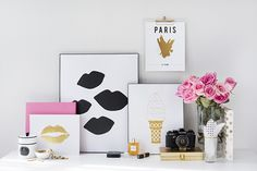 Product Styling and Photography by Shay Cochrane 2014 www.shaycochrane.com | Art Prints by Taryn St. Michele  Chanel, gold, fashion, pink, desk