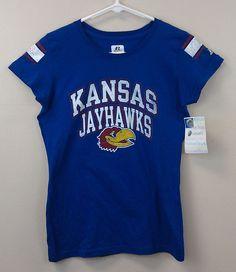 Kansas Jayhawks KU Women's Tee Russell SMALL NEW/NWT T-Shirt Distressed $25R  #RussellAthletics #KansasJayhawks