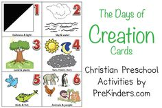 creation crafts  | Here is a set of sequencing cards for teaching the Days of Creation ...