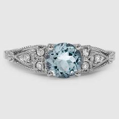 Platinum Sapphire Rosabel Diamond Ring // Set with a 6.5mm Round Blue Aquamarine (From Unique Colored Gemstone Gallery) #BrilliantEarth