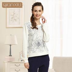 2017 O Neck Fashion Soft Cotton Long Sleeve Autumn Loose Casual Plus Size Print Homewear Pajamas for Women Ladies 15282