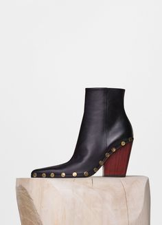 If only....Rodeo High Ankle Boot with Studs in Black Lambskin - Céline