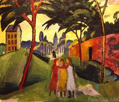 August Macke - Landschaft mit drei Mädchen