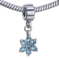 Pugster March Birthstone Flower Dangle Style Pandora Beads