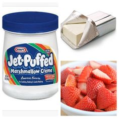 My Moms Idea, we add 1Tbs orange juice, good with apple slices too Delish-Nicki mix one jar of marshmellow cream with the one block of cream cheese until it is soft & creamy. Refrigerate until cold. Dip the strawberries into the marshmellow cream cheese dip. ENJOY!