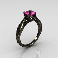 Art Nouveau 14K Black Gold 1.0 Carat Pink Sapphire Engagement Ring R207-BGPS